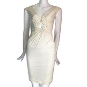 LA PERLA Satin cream dress with geometric cleavage