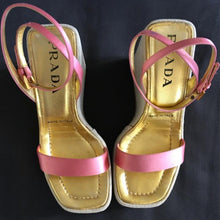 Load image into Gallery viewer, PRADA 1997 Pink satin wedges