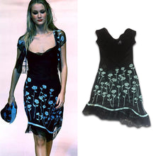 Load image into Gallery viewer, BLUMARINE lace dress with light blue flowers/ Summer 98