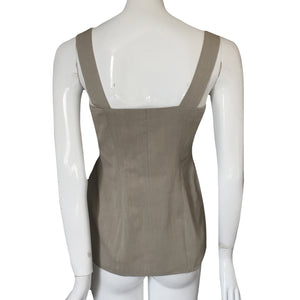 CHANTAL THOMASS 1991 Beige wrap top with grey metallic butons