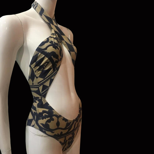 EMPORIO ARMANI Blue and beige Arlequin and flowers printed swimsuit