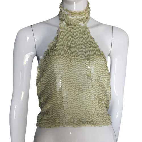 ARMANI Collezioni Light green and white sequins top with open back