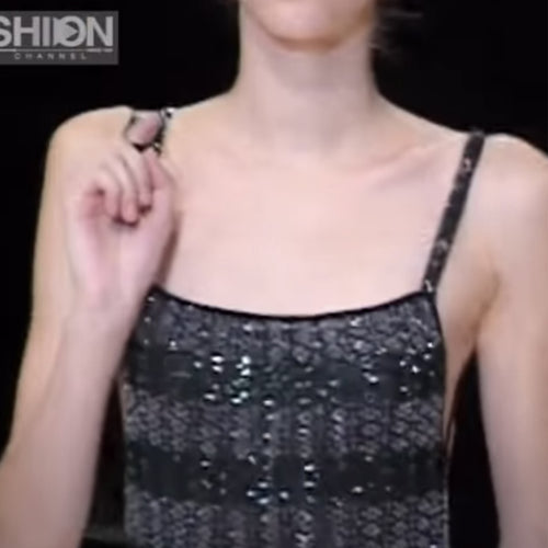 GIORGIO ARMANI SS1998 Black and grey/green sequins top