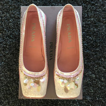 Load image into Gallery viewer, PRADA Baby pink embroidered Paillettes and pearls ballerina FW1999