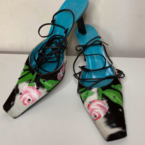 GIUSEPPE ZANOTTI Lace up sandals with cow fur/ roses print