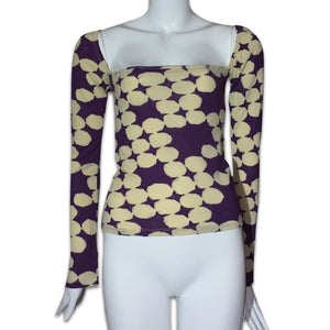 VERSUS VERSACE Wool and cotton square neck top with flare sleeves