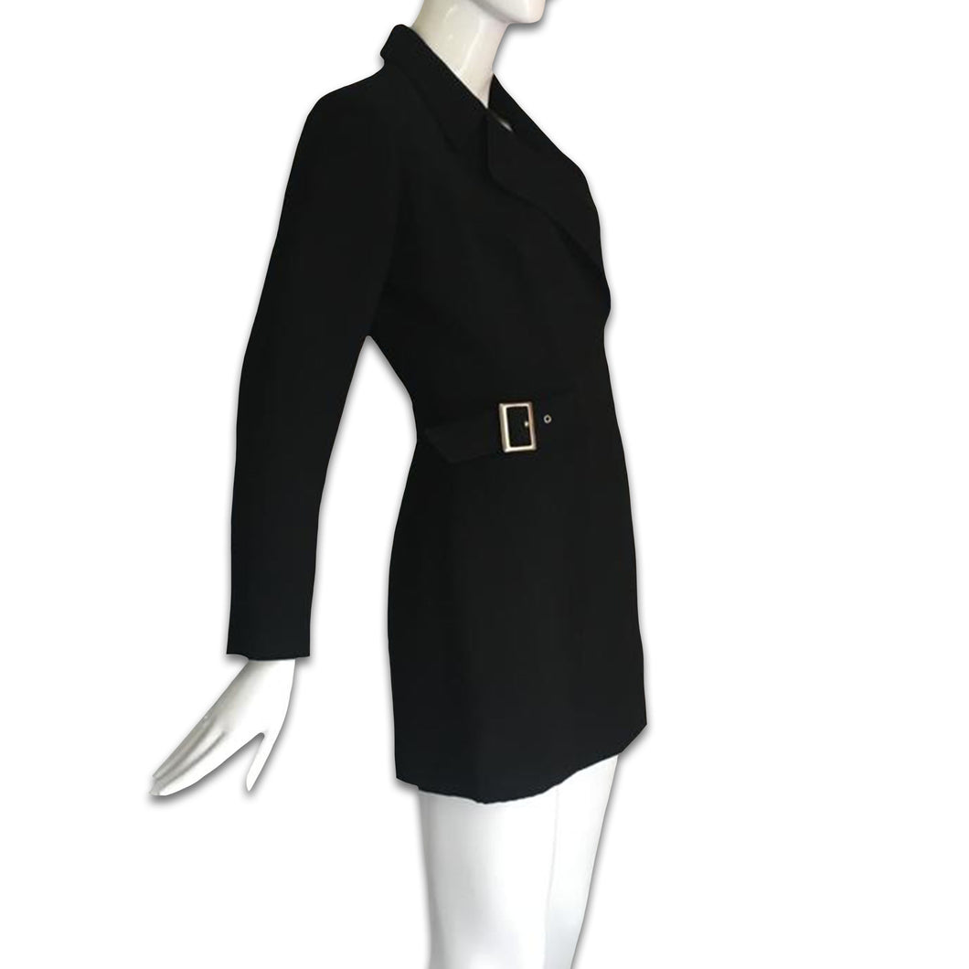 THIERRY MUGLER black tailored jacket with zip and belt