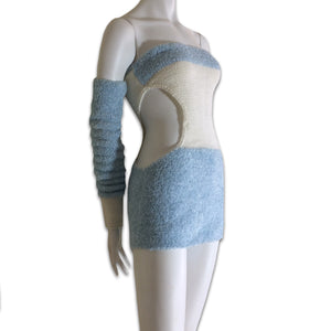 Baby blue wool bustier dress with separate sleeves made in Ukraine