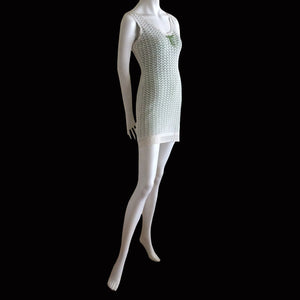 BLUMARINE 1998 White crochet dress with apple green lining
