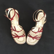 Load image into Gallery viewer, PRADA 1997 Red leaf and beige leather platforms