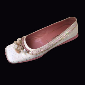 PRADA Baby pink embroidered Paillettes and pearls ballerina FW1999