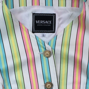 VERSACE 90s stripes vest with golden buttons