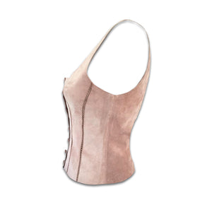 PLEIN SUD Leather pale pink/ brown bustier