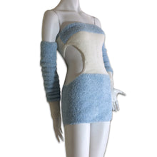 Load image into Gallery viewer, Baby blue wool bustier dress with separate sleeves made in Ukraine