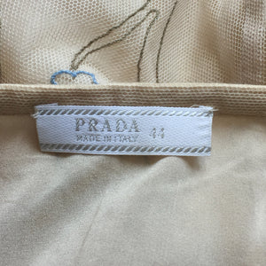 PRADA SS1997 Beige silk skirt with embroidered flowers