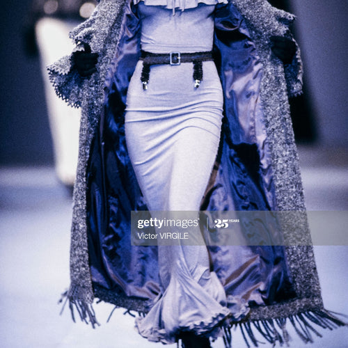 CHANTAL THOMASS Fall 1993 Grey ruffles set/ Skirt+ jacket