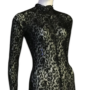 CHANTAL THOMASS 1991 Black lace bodysuit with embroidery