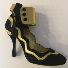 Load image into Gallery viewer, PRADA SS2008 Black & Gold Suede Ankle Ruffle Cuff Metallic Pumps