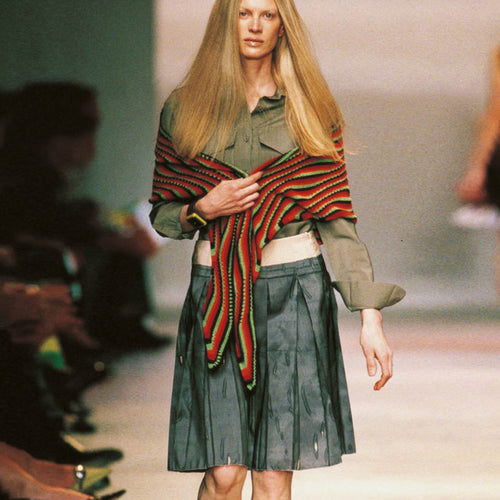 PRADA SS2005 Silk Pleated Blue grey skirt