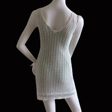 Load image into Gallery viewer, BLUMARINE 1998 White crochet dress with apple green lining