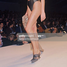 Load image into Gallery viewer, CHANTAL THOMASS SS1992 Dark Blue suede lace up heels