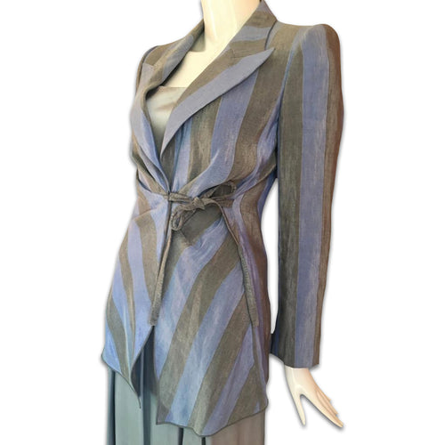 GIORGIO ARMANI SS2003 Grey/blue silk and linen suit
