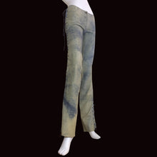 Load image into Gallery viewer, PLEIN SUD 2000s Leather Tie Dye Low waist flare pant/ Lace up pant