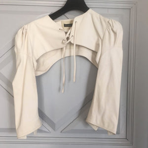 PLEIN SUD 2002 Beige Leather Lace up top