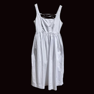 ALBERTA FERRETTI 1994 white cotton dress with lace up back