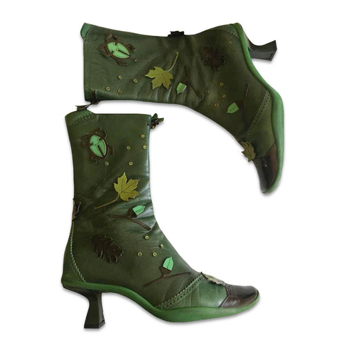 PRADA FW1999 Green forest Leather boots with leaf, acorn and lady bug appliqués