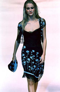 BLUMARINE lace dress with light blue flowers/ Summer 98