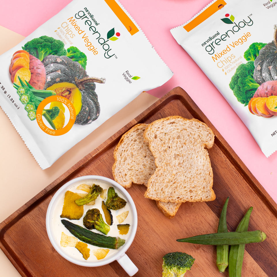 Mixed Veggie - Pumpkin, Okra, Sweet Potato, Broccoli (Sharing Pack) Crispy Vegetables Greenday Singapore