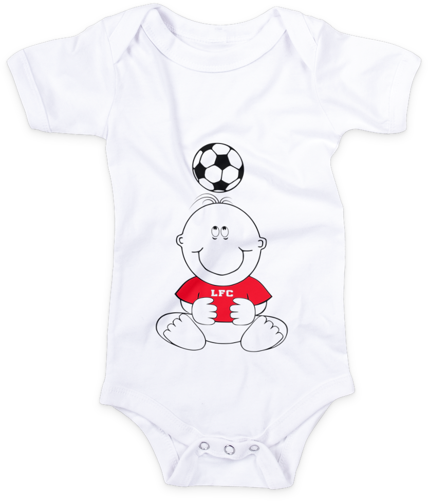 Cute baby in a red LFC T Shirt looking at a football baby grow