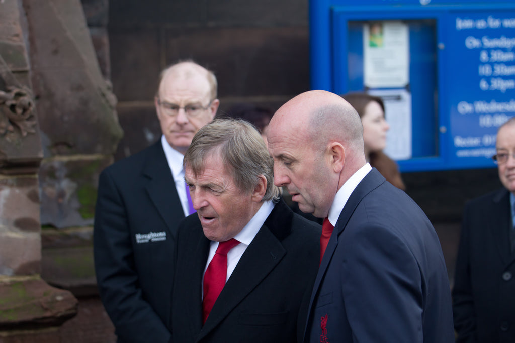 Kenny Dalglish and Gary McAllister at the funeral service for Tommy Lawrence-Teestreet