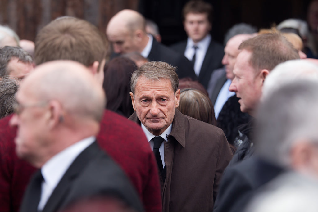 Roger Hunt at the funeral service for Tommy Lawrence-Teestreet