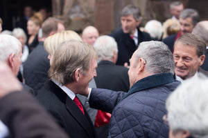 Kenny Dalglish, Ian St John and Roger Hunt at the funeral service for Tommy Lawrence-Teestreet