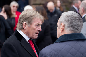 Kenny Dalglish and Ian St John at the funeral service for Tommy Lawrence-Teestreet