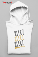 Load image into Gallery viewer, Allez Allez Allez Champions Unisex Hoodie in white