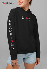 Load image into Gallery viewer, Champ19ns design on sleeve LFC Unisex Hoodie in black