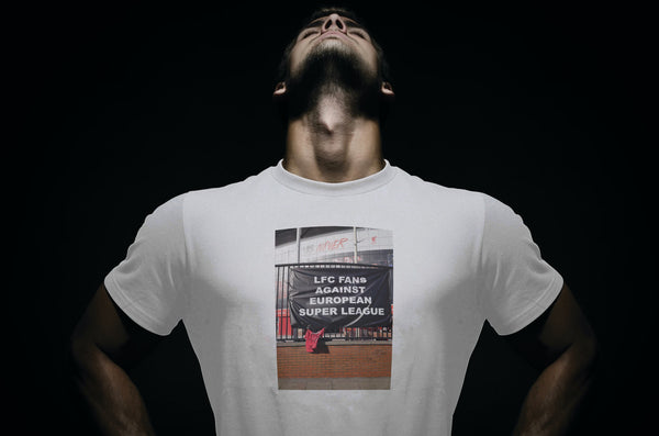 LFC Fans Against European Super League T Shirt available in white/black/red