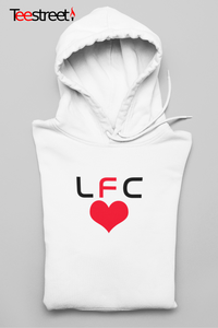 LFC with Red Heart Unisex Hoodie in white