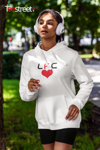Load image into Gallery viewer, LFC with Red Heart Unisex Hoodie in white