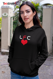LFC with Red Heart Unisex Hoodie in black
