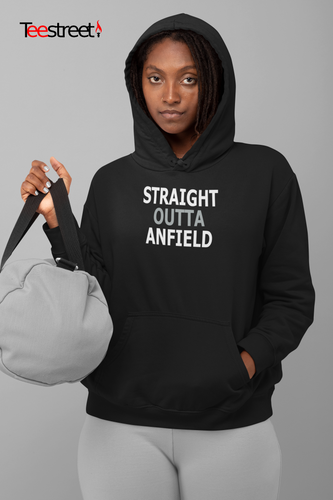 Straight Outta Anfield LFC Unisex Hoodie in black