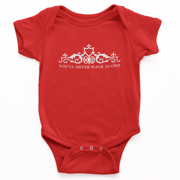 red you'll never walk alone custom baby grow