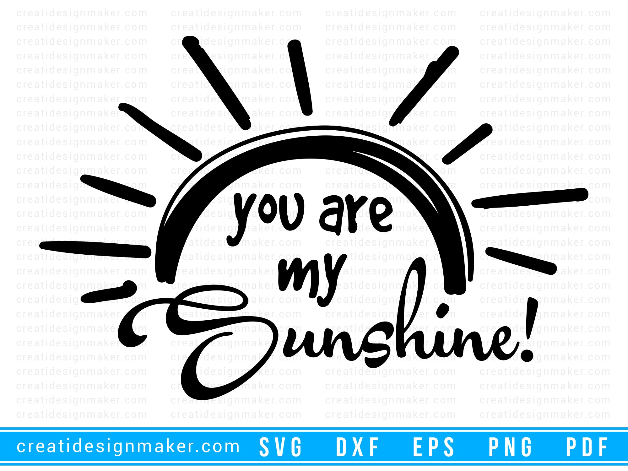 You are my sunshine summer svg Cut File For Cricut svg, dxf, png, eps, pdf Silhouette Printable Files