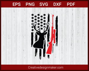 Deer Hunting American Flag SVG Cricut Silhouette DXF PNG EPS Cut File