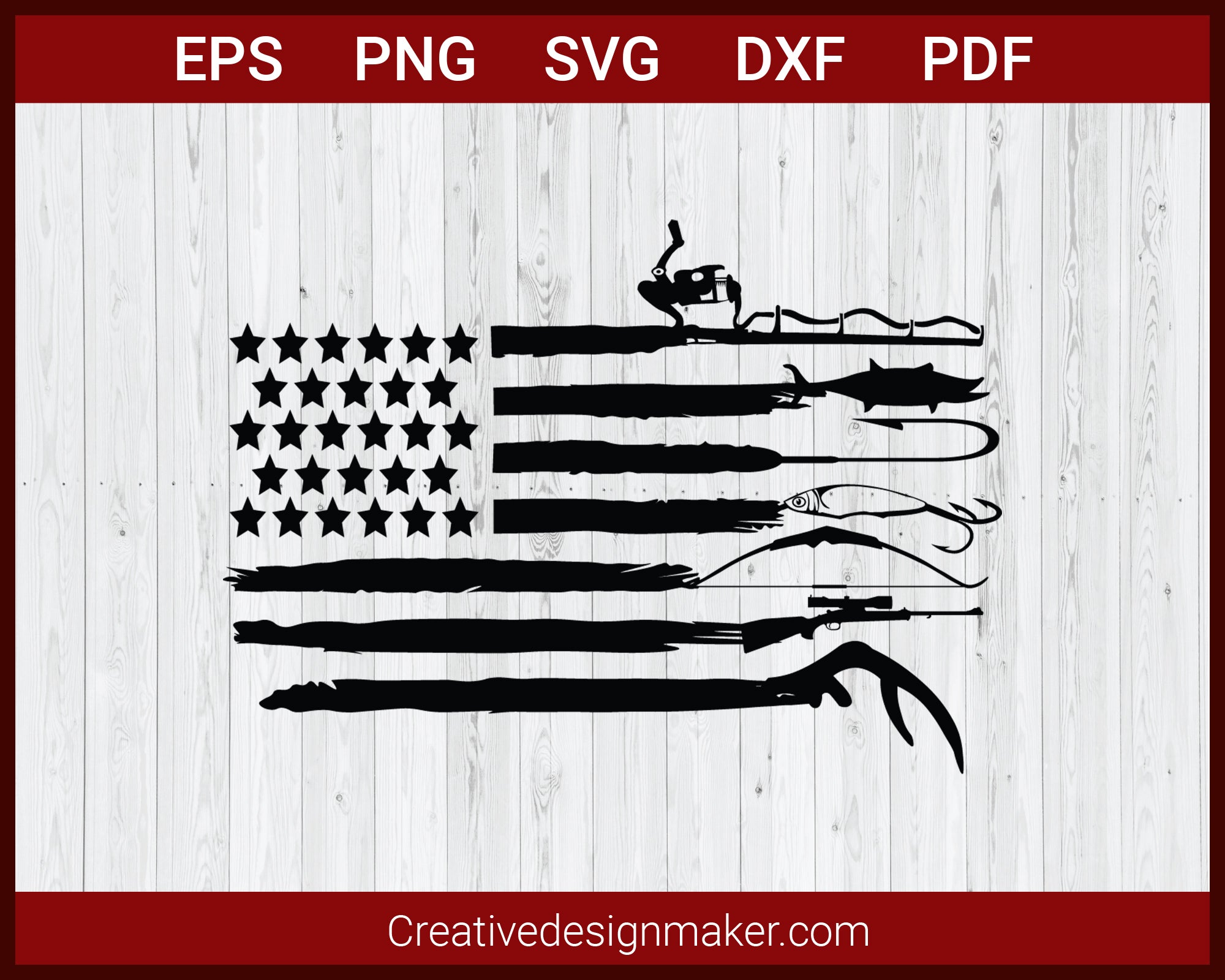 Fishing Hook svg,  Fishing Hunting USA Flag svg Cut File For Cricut Silhouette eps png dxf Printable Files