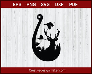 Deer Hunting, Fishing Hook SVG Cut File For Cricut Silhouette EPS PNG DXF Printable Files
