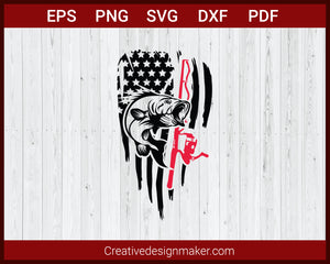 Distressed American Flag Hunting Fishing SVG Cricut Silhouette DXF PNG EPS Cut File